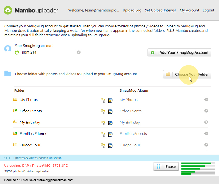 Mambo Photo Uploader Dashboard